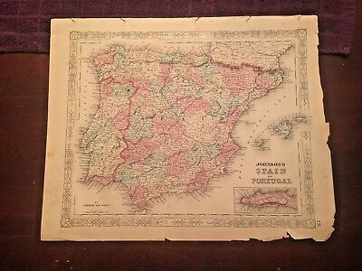 1863 Johnson & Ward Hand Colored Atlas Map of SPAIN AND PORTUGAL