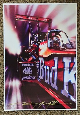 New Kenny Youngblood Signed Budweiser Dragster Kenny Bernstein Drag Racing Print