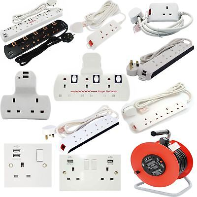 Multi Plug Extension Lead 2/3/4/5 Gang Way UK Mains Socket Cable Reel Adaptors