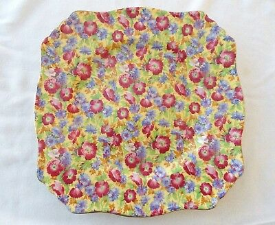 """Royal Winton Royalty Chintz Floral Square Dinner Plate 9.5"""""""
