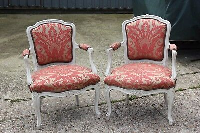 A Pair of White Painted French 19th Century Armchairs