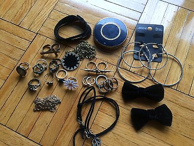 Women's lot of rings necklaces bracelets hoop earrings and bows