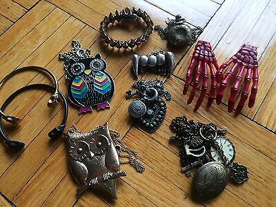 Women's lot of owl necklaces bracelets and skeleton hair clips