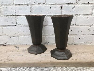 Pair of Cast Iron French Urn Vases #453