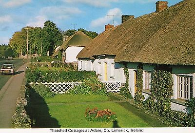 THATCHED COTTAGES AT ADARE CO LIMERICK IRELAND CARDALL LTD IRISH POSTCARD No 295