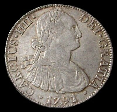1791/4 Overdate Fm Silver Mexico 8 Reales King Charles Iii Km #109 Choice Au+