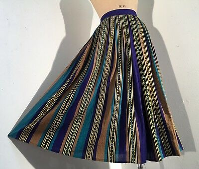 Vintage 1950s/50s Southwestern Mexican Striped Cotton Skirt Full 40s