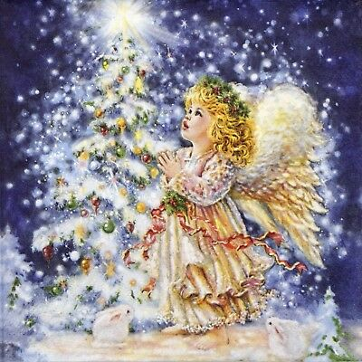 4x Paper Napkins - Christmas Angels- for Party, Decoupage Craft