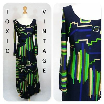 VINTAGE 1960's 1970's NAVY GEOMETRIC PRINT MAXI DRESS UK 10-12, RETRO CHIC MOD