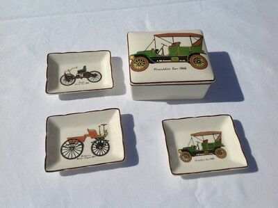 Collectable Sandland Ware Porcelain Set Trinket Box&pin Dishes With Antique Cars
