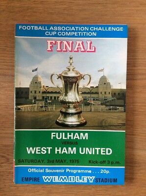 FA Cup Final 1975 Fulham V West Ham United  With Newspaper Report Of Match