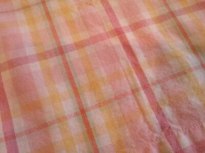 Pottery Barn Kids Pink Yellow Green Plaid Fabric Shower Curtain 100 Cotton EUC