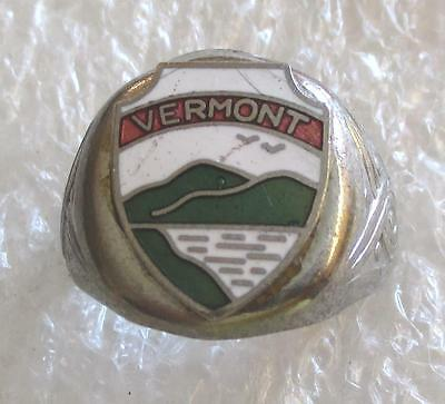 Vintage State of Vermont Travel Tourist Souvenir Ring with Enamel Shield