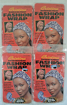 Lot Of 4 Women's Hair Head Cristina Bandana Print Red Color Fashion Wrap.
