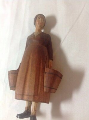 Vintage Hand Carved Hand Painted Wood Figure,Swiss Milk Maid With Buckets Brienz