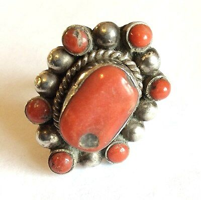 Vintage ethnic chunky silver and coral ring