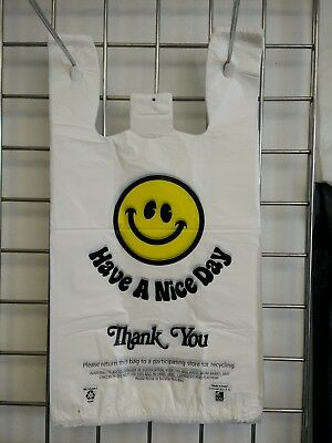 Heavy Duty T-Shirt Thank You Plastic Shopping Carry Out Bag Bags Smiley Face