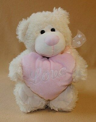"Chrisha Creations 2008 Playful Plush Ivory Bear Holding Pink Heart ""LOVE"" 16"" T"