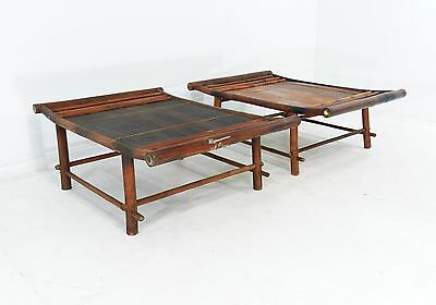 Set of 2 Vintage Oriental Ottoman Seat Bamboo Wood Tables