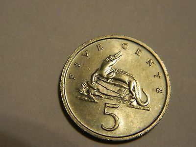 1986 Jamaica 5 Cents About Uncirculated---Lot #1,861
