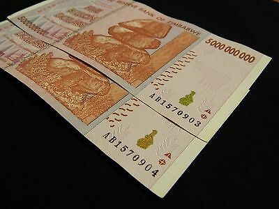 Zimbabwe 5 Billion Dollars Banknote AB Two Sequential AU/UNC