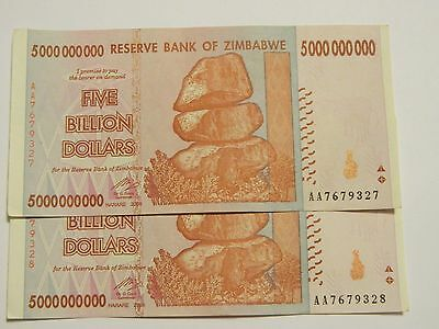 Zimbabwe 5 Billion Dollars Banknote AA Two Sequential
