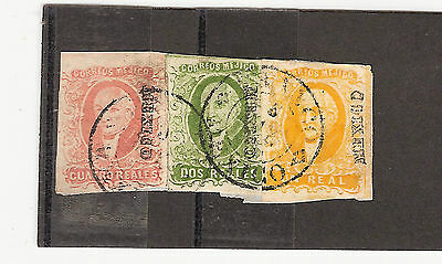 Mexico 1856 Issue Tricolor Franking Tied On Paper With Mepsi Certificate