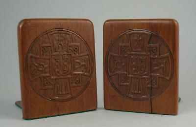 Vintage Chinese Carved Wood Christian Symbol Bookends Leper Colony Hayling Chau