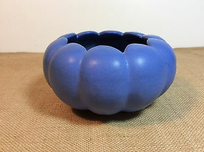 Vtg 1940's- 50's Niloak Art Pottery Blue Scalloped Flower Bowl Planter -  Marked