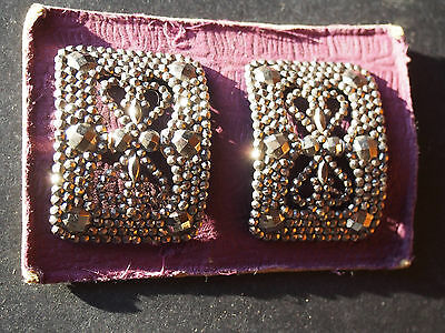 RARE Antique France Cut Steel Buckle Clips Stitched to Retail Fabric Board NEW