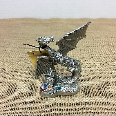 Pewter 1994 Jay Craft Winged Dragon with Crystal Jwels