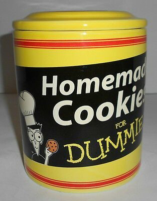 "Large Homemade Cookies For Dummies Cookie Jar Canister 6.5"" Tall Excellent!"