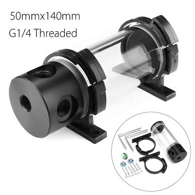 Acrylic Cylinder Reservoir Water Tank G1/4 50mmx140mm For PC CPU Liquid Cooling