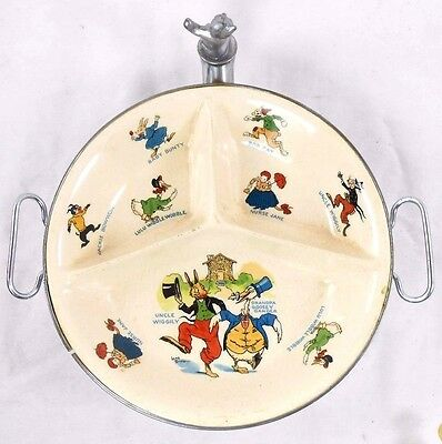 Vintage Nursery Baby Divided Porcelain Bowl Nursery Rhyme Characters SIlverplate