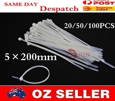 20/50/100PCS 5×200mm White Self lock Electric Wire Nylon Plastic Cable Zip Ties