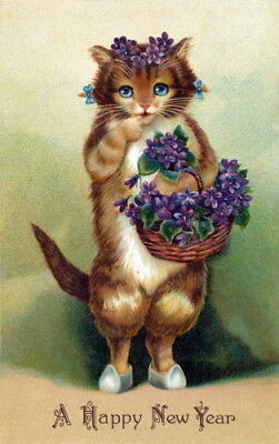 1910 New Year's Art~Sweet Blue-Eyed Kitty Cat with Basket Violets~NEW Note Cards