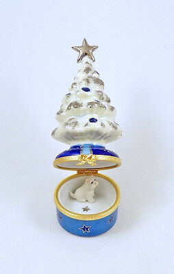 New French Limoges Trinket Box Westie Dog Decorated Silver Christmas Tree &star