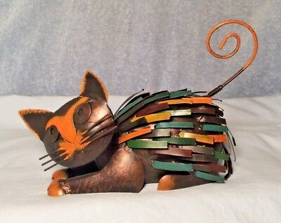 """UNIQUE Vintage All Metal Art Cat Bobble Spring Head & Tail 9"""" Indonesia AWESOME!"""