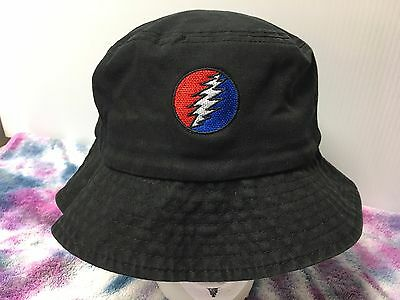 Grateful Dead Steal Your Face Embroidered Bucket Hat Cap Black or Navy OSFM