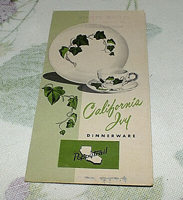METLOX POPPYTRAIL CALIFORNIA IVY 1957 paper BROCURE PAMPHLET original prices
