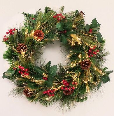 Classic Holiday Decorated Fiber Optic Christmas wreath prelit indoor outdoor use