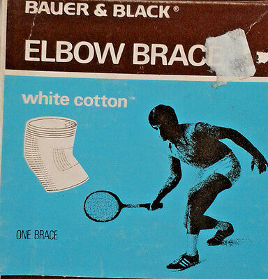 Vintage Bauer & Black Elbow Brace Size Large 14''-16'' White Cotton Made In Usa