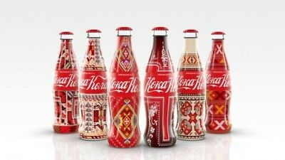 Coca Cola Bulgarian Embroidery Inspiration Glass Bottles Full Set