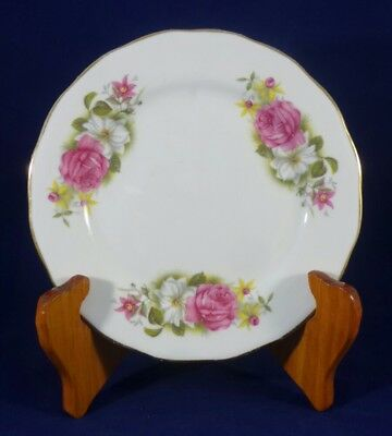 Vintage Queen Anne Pink and White Flowers Bone China Side Plate England
