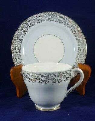 Vintage Adderley Pale Blue and Gold trim Teacup and Side plate England