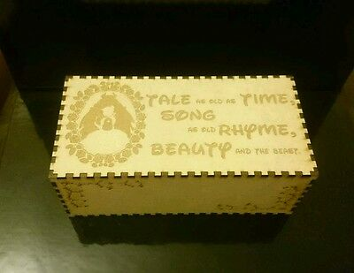 Beauty and the Beast engraved wooden jewellery keepsake box