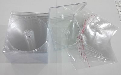 Standard Jewel Case Clear Tray CD DVD Holds 1 Disc 10 PACK + 10 PLASTIC SLEEVE