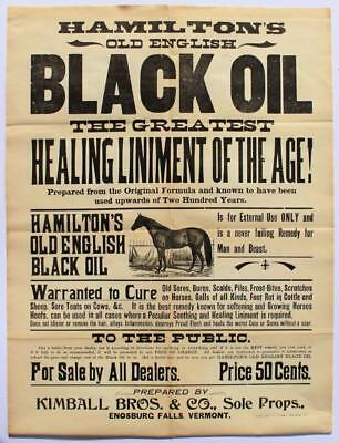 c 1880 VETERINARY BROADSIDE HAMILTON'S OLD ENGLISH BLACK OIL HORSE LINIMENT VT