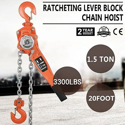 Brand New Arrival 1.5T 6m Chain Lever Lift Hoist Block Manual Operated HQ