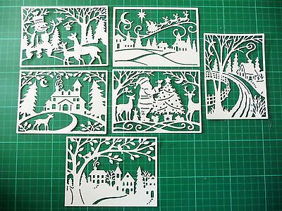 Die Cut Cuts Winter Christmas Scene Santa (x6) Card Making Scrapbooking Topper 3